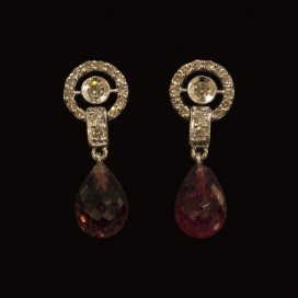 Ear hangers set with rubies and diamonds (14KT white gold)
