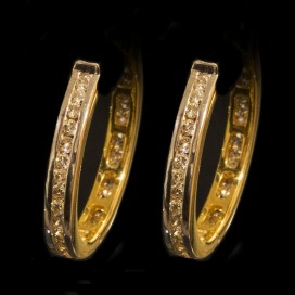 Ear rings set with diamonds (18KT yellow gold)
