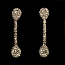 Ear hangers set with diamonds (18KT white gold)