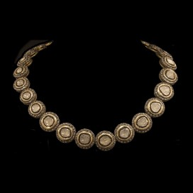 A necklace set with polki diamonds (silver and gold plated)