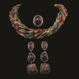 A necklace set with multi sapphires, rubies and emeralds (14KT yellow gold lock)