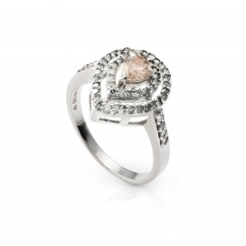 Ring 14kt White gold set with brilliants