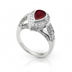 Ring 18kt White gold set with a ruby and brilliants