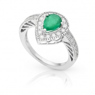 Ring 18kt White gold set with an emerald and brilliants