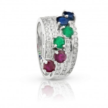 Ring 18kt White gold set with rubies, emeralds, sapphires and brilliants