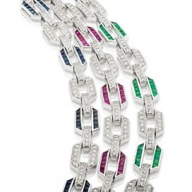 3 Bracelates 18kt White gold set with rubies, emeralds, sapphires and brilliants