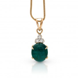 Pendant 14kt Yellow gold set with an old Zambian cabochon emerald and brilliants