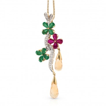 Pendant 18kt Yellow gold set with emeralds, rubies, citrine and brilliants