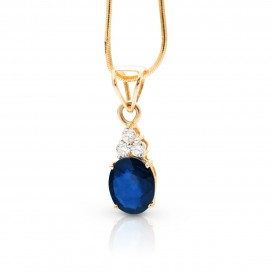 Pendant 18kt Yellow gold set with a blue sapphire and brilliants