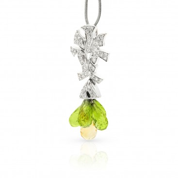 Pendant 18kt White gold set with peridots, citrines and brilliants