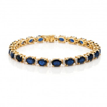 Bracelate 18kt Yellow gold set with blue sapphires and brilliants