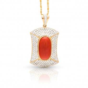 Pendant 18kt Yellow gold set with coral and brilliants