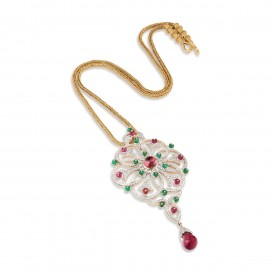 Pendant 18kt Yellow gold set with cabochon emeralds, pink tourmalines and brilliants. Chain is SOLD