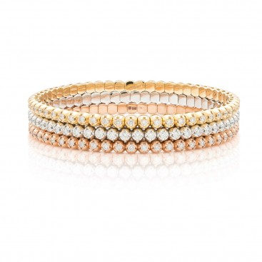 3 Bracelates 18kt Yellow gold, rose gold, white gold set with brilliants
