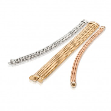 3 Bracelates 18kt White gold, yellow gold and rose gold