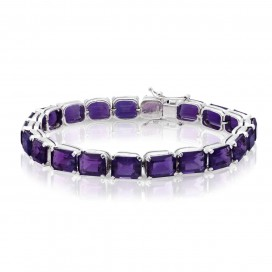 Bracelate 18kt White gold set with amethysts
