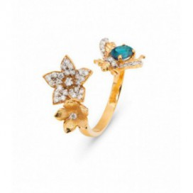 Ring 14kt Yellow gold set with brilliants and natural alexandrite
