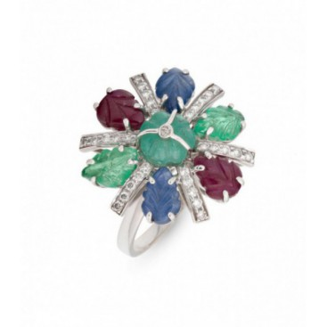Tutti frutti 18kt White gold ring set with brilliants and carved emeralds, sapphires and rubies
