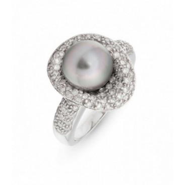 Ring 18kt White gold set with brilliants and Tahiti South Sea pearl