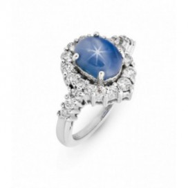 Ring 18kt White gold set with brilliants and blue star sapphire