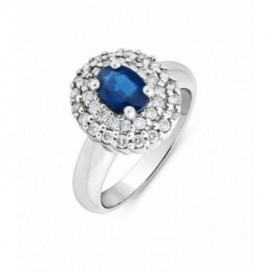 Ring 18kt White gold set with brilliants and blue sapphire