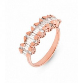 Ring 18kt Rose gold set with baguette brilliants