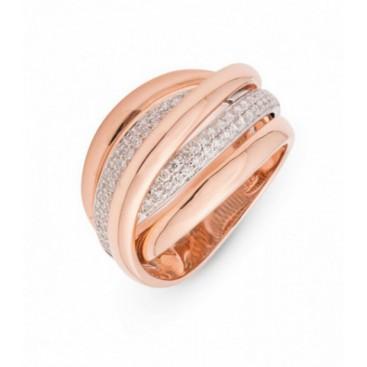 Ring 14kt Rose gold set with brilliants