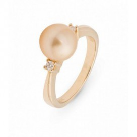 Ring 14kt Yellow gold set with two brilliants and a golden South Sea pearl