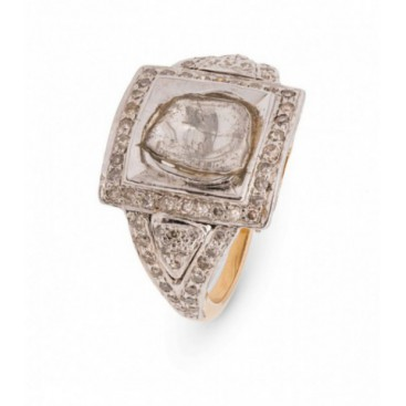 Ring 14kt Yellow gold set with old cut diamonds (polki)