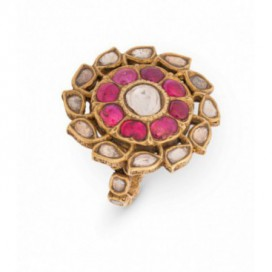 Ring 22kt Yellow gold set with old cut diamonds (polki) and cabochon rubies. Reverse of ring is enamelled.