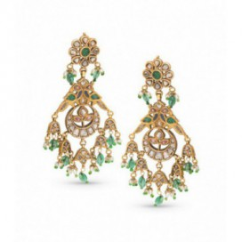 Ear hangers 22kt Yellow gold set with old cut diamonds, cabochon emeralds and seed pearls.