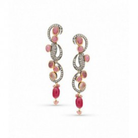 Art Deco (1925) silver and gold polished ear hangers set with old cut diamonds and pink tourmalines