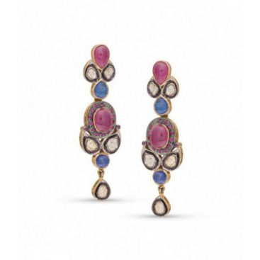 Art Deco (1925) silver and gold polished ear hangers set with old cut diamonds, cabochon pink tourmalines and iolites