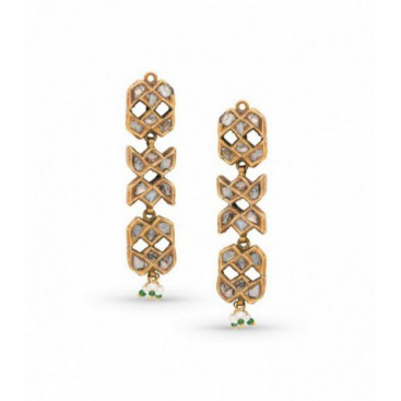 Ear hangers 22kt Yellow gold set with old cut diamonds, seed pearls and cabochon emeralds.
