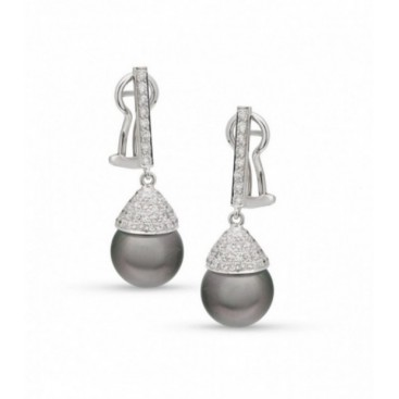 Ear hangers 18kt White gold set brilliants and black Tahiti South Sea pearls