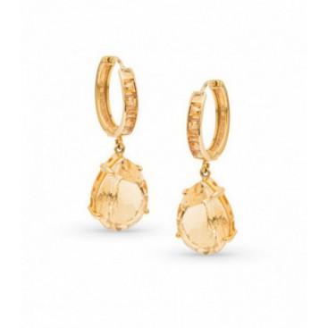 Ear hangers 18kt Yellow gold set golden citrine