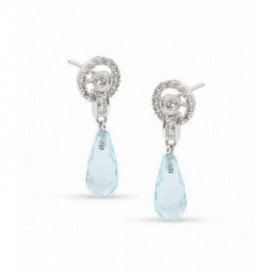Ear hangers 18kt White gold set with brilliants and briolette cut blue topaz
