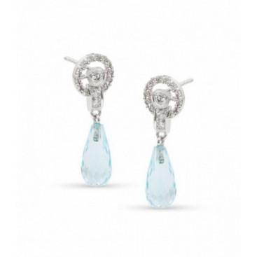Ear hangers 18kt White gold set with brilliants and briolette cut blue topaz