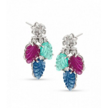 Tutti frutti 18kt White gold ear hangers set with brilliants and carved emeralds, sapphires and rubies