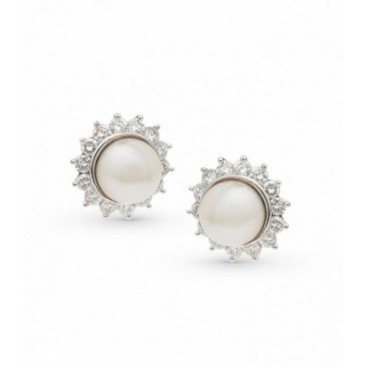 Ear tops 18kt White gold set with South Sea pearls and brilliants
