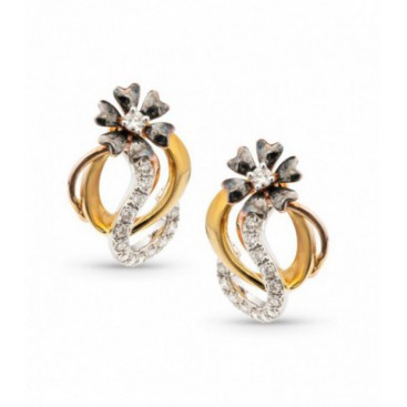 Ear tops 14kt Yellow gold set with brilliants. The flowers are black enamelled.