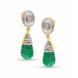 Art Deco (1925) silver and gold polished ear hangers set with old cut diamonds and carved emeralds