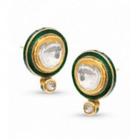 Art Deco (1925) 22kt Yellow gold ear tops set with old cut diamonds and sides are green enamelled