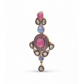 Art Deco (1925) silver and gold polished pendant set with old cut diamonds, iolites and pink tourmalines