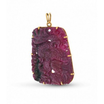 Pedant 22kt Yellow gold and huge ruby (8cm)