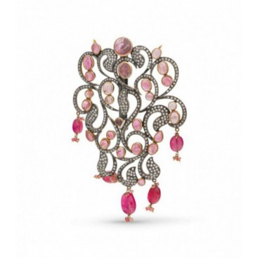 Art Deco (1925) silver and gold polished pendant set with old cut diamonds and pink tourmalines