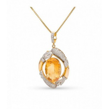 Pendant 14kt Yellow gold set with brilliants and golden topaz