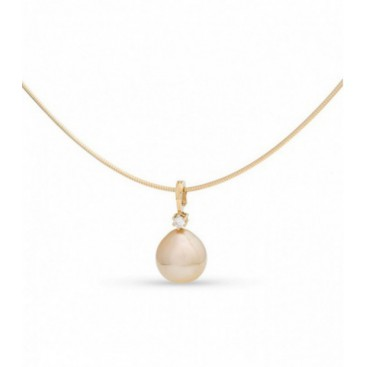 Pendant 14kt Yellow gold set with a single brilliant and a golden South Sea pearl