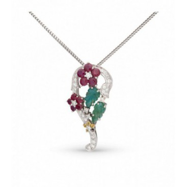 Pendant 18kt White gold set with brilliants, carved emeralds and rubies