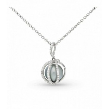 Pendant 18kt White gold set with brilliants and a Tahiti South Sea pearl